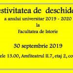Image for Festivitatea de  deschidere a anului universitar 2019 – 2020  la  Facultatea de Istorie- 30 septembrie 2019  Orele 13, Amfiteatrul II.7, etaj 2, corp A
