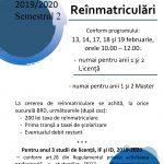 Image for Reînmatriculări în semestrul al II-lea ( anul universitar 2019/2020)